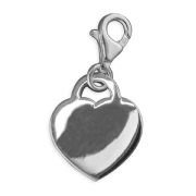 Sterling silver clip on Highly polished Heart charm